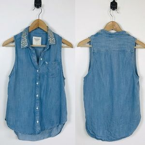 Abercrombie & Fitch Small Chambray Beaded Tank